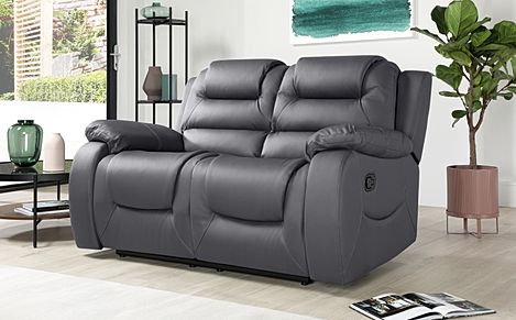 Vancouver Grey Leather Recliner Sofa 2 Seater