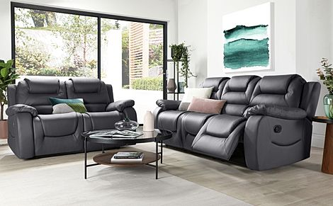 Vancouver Grey Leather Recliner Sofa 3+2 Seater