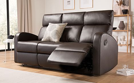 Ashby Brown Leather Recliner Sofa 3 Seater