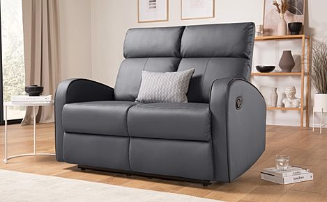 Ashby Grey Leather Recliner Sofa 2 Seater