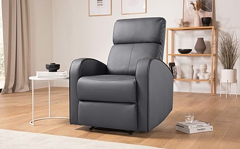 Ashby Grey Leather Recliner Armchair
