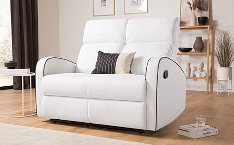 Ashby White Leather 2 Seater Recliner Sofa