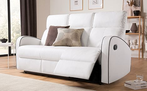 Ashby White Leather Recliner Sofa 3 Seater