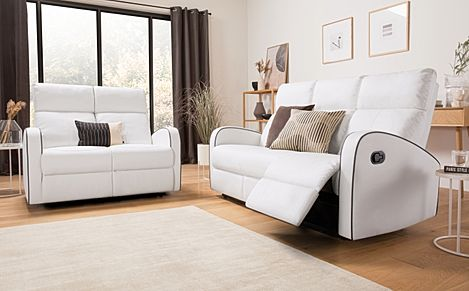 Ashby White Leather 3+2 Seater Recliner Sofa Set