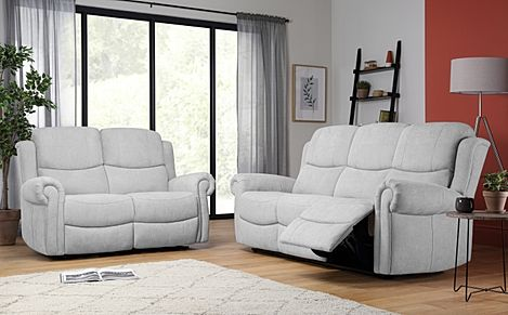 Hadlow Dove Grey Plush Fabric 3+2 Seater Recliner Sofa Set