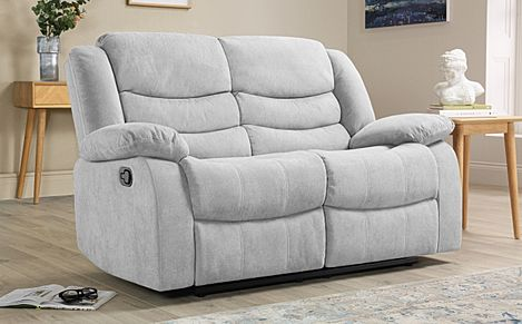 Sorrento Dove Grey Plush Fabric Recliner Sofa 2 Seater