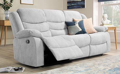 Sorrento Dove Grey Plush Fabric Recliner Sofa 3 Seater