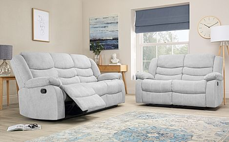 Sorrento Dove Grey Plush Fabric 3+2 Seater Recliner Sofa Set