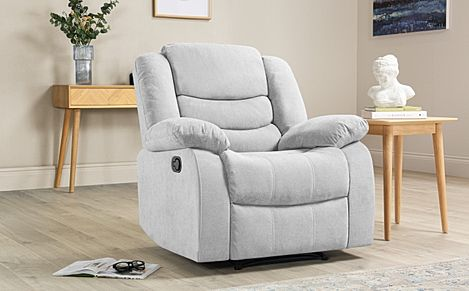 Sorrento Dove Grey Plush Fabric Recliner Armchair