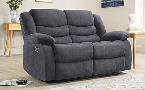 Sorrento Slate Grey Plush Fabric Recliner Sofa 2 Seater