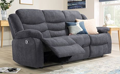 Sorrento Slate Grey Plush Fabric Recliner Sofa 3 Seater