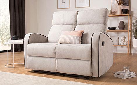 Ashby Dove Grey Plush Fabric 2 Seater Recliner Sofa