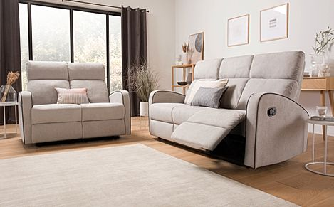 Ashby Dove Grey Plush Fabric 3+2 Seater Recliner Sofa Set