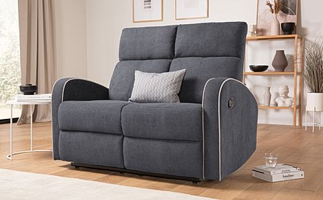 Ashby Slate Grey Plush Fabric 2 Seater Recliner Sofa