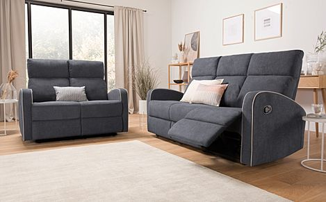 Ashby Slate Grey Plush Fabric 3+2 Seater Recliner Sofa Set
