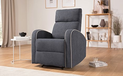 Ashby Slate Grey Plush Fabric Recliner Armchair
