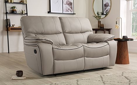 Beaumont Taupe Leather 2 Seater Recliner Sofa