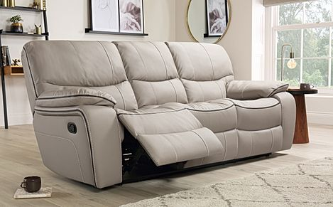Beaumont Stone Grey Leather 3 Seater Recliner Sofa