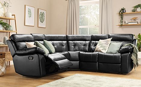 Grosvenor Black Leather Recliner Corner Sofa