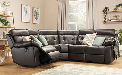 Grosvenor Brown Leather Recliner Corner Sofa