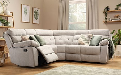 Grosvenor Dove Grey Plush Fabric Recliner Corner Sofa