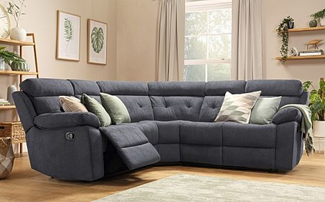 Grosvenor Slate Grey Plush Fabric Recliner Corner Sofa