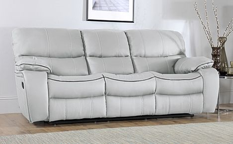 Beaumont Light Grey Leather 3 Seater Recliner Sofa