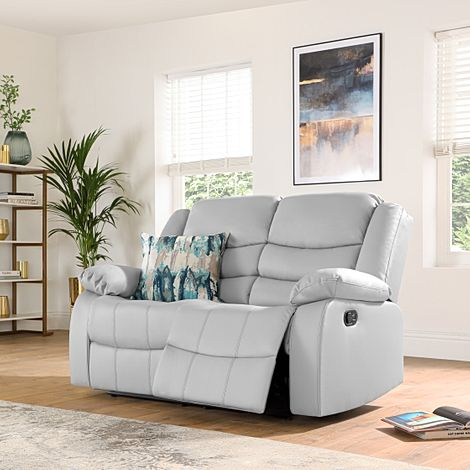 Sorrento Light Grey Leather 2 Seater Recliner Sofa