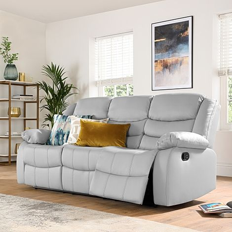 Sorrento Light Grey Leather 3 Seater Recliner Sofa