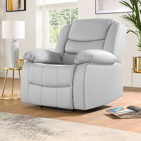 Sorrento Light Grey Leather Recliner Armchair