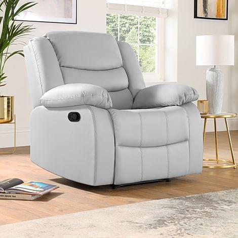 Sorrento Light Grey Leather Recliner Armchair