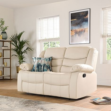 Sorrento Ivory Leather 2 Seater Recliner Sofa