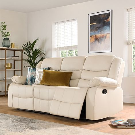 Sorrento Ivory Leather 3 Seater Recliner Sofa