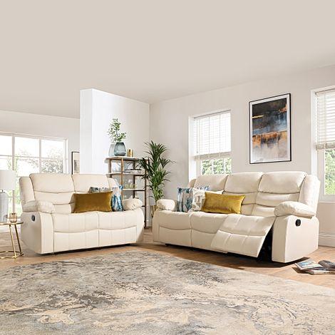 Sorrento Ivory Leather 3+2 Seater Recliner Sofa Set