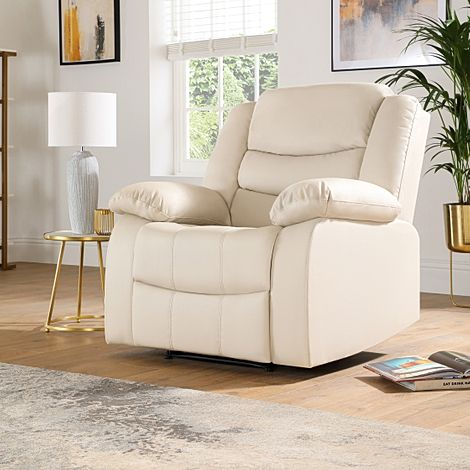 Sorrento Ivory Leather Recliner Armchair