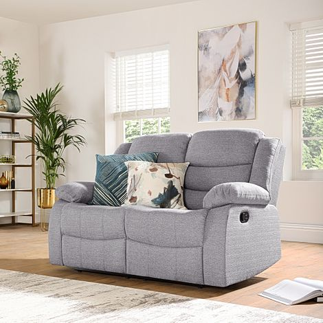 Sorrento Light Grey Fabric 2 Seater Recliner Sofa