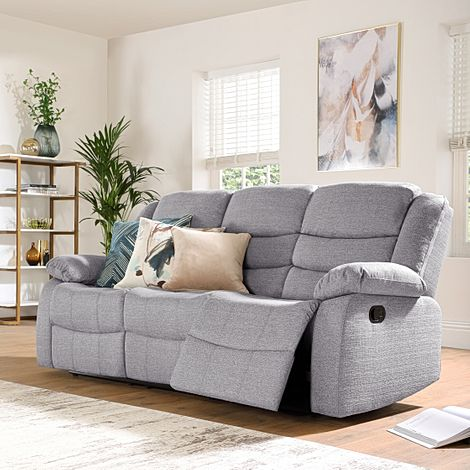 Sorrento Light Grey Fabric 3 Seater Recliner Sofa