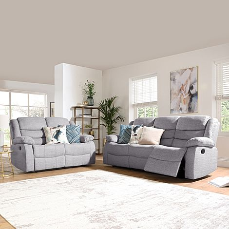 Sorrento Light Grey Fabric 3+2 Seater Recliner Sofa Set