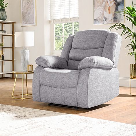 Sorrento Light Grey Fabric Recliner Armchair
