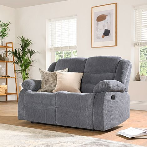 Sorrento Dark Grey Dotted Cord Fabric 2 Seater Recliner Sofa