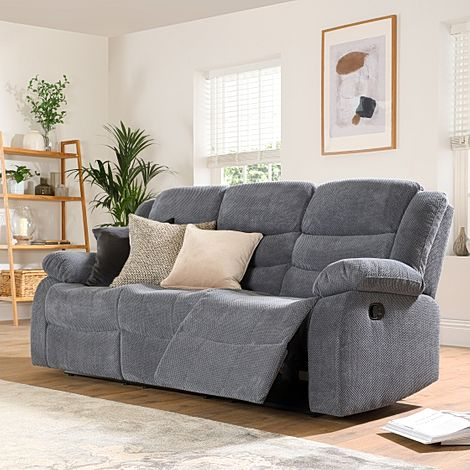 Sorrento Dark Grey Dotted Cord Fabric 3 Seater Recliner Sofa