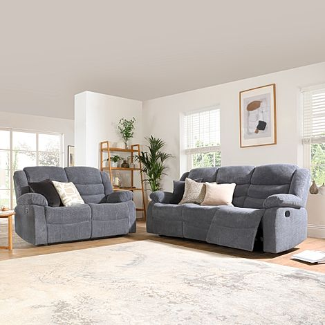 Sorrento Dark Grey Dotted Cord Fabric 3+2 Seater Recliner Sofa Set