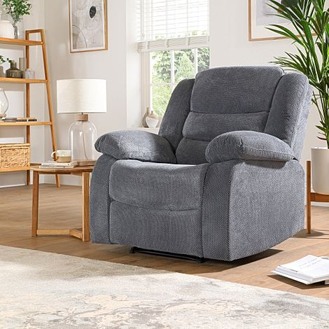 Sorrento Dark Grey Dotted Cord Fabric Recliner Armchair