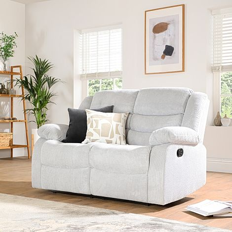 Sorrento Light Grey Dotted Cord Fabric 2 Seater Recliner Sofa
