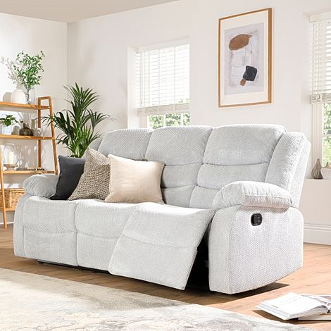 Sorrento Light Grey Dotted Cord Fabric 3 Seater Recliner Sofa