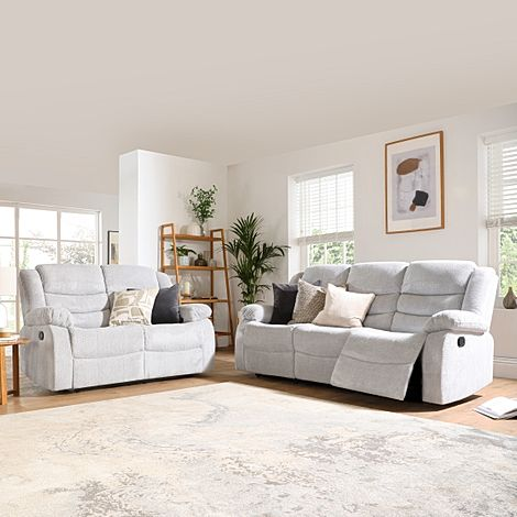 Sorrento Light Grey Dotted Cord Fabric 3+2 Seater Recliner Sofa Set