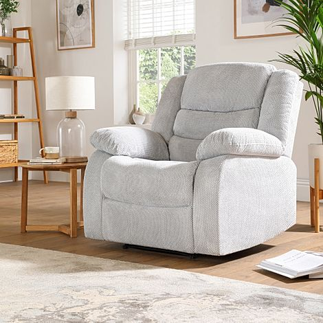 Sorrento Light Grey Dotted Cord Fabric Recliner Armchair