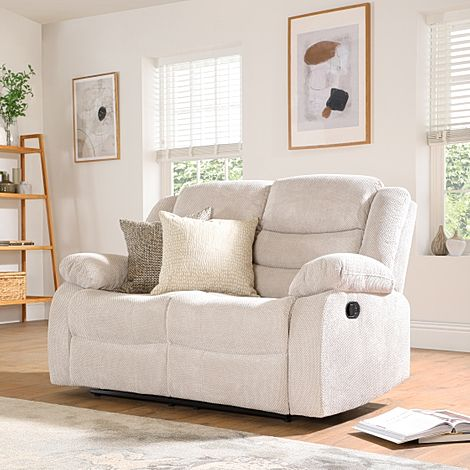 Sorrento Natural Dotted Cord Fabric 2 Seater Recliner Sofa