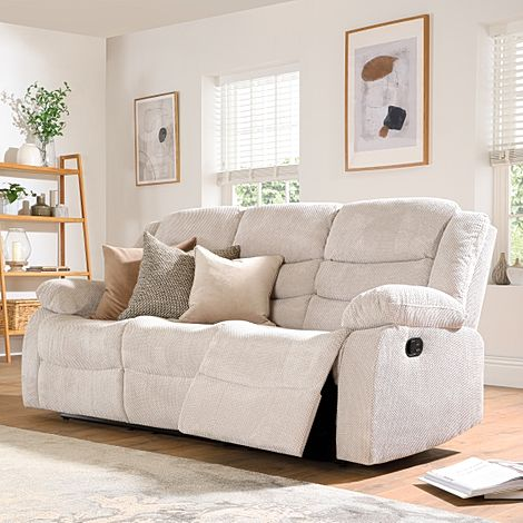 Sorrento Natural Dotted Cord Fabric 3 Seater Recliner Sofa