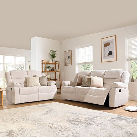 Sorrento Natural Dotted Cord Fabric 3+2 Seater Recliner Sofa Set